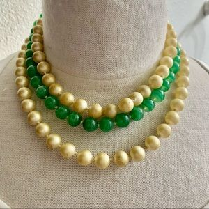 Vintage Green Glass and faux Pearl necklace